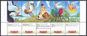 Palau Sc# 226a MNH Strip/5 1989 Christmas