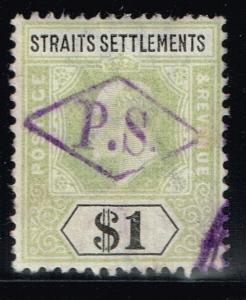 Straits Settlement SG# 119, Used, Interesting Cancel.      Lot 03292015