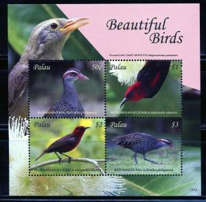 PALAU 2019  BEAUTIFUL BIRDS SHEET OF FOUR MINT NEVER HINGED