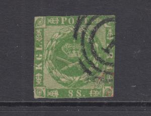 Denmark Facit 8v2 used. 1858 8s green Royal Emblems, double impression
