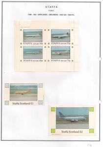 SCOTLAND - STAFFA - 1982 - Airliners - Perf 4v, Souv, D/L Sheets -MLH