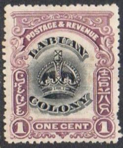 Labuan 1903 1c black and purple MH
