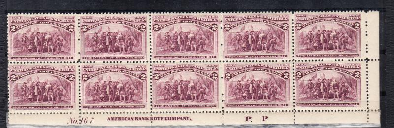 #231 Plate block of 10 F-VF NH All broken hat examples!