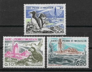 St Pierre & Miquelon 1975, Lighthouses Scott # 443-445, VF MNH**OG (R-4)