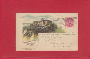 Chateau Frontenac 1908 CPR railway post card to ENGLAND from Canada Edward Issue