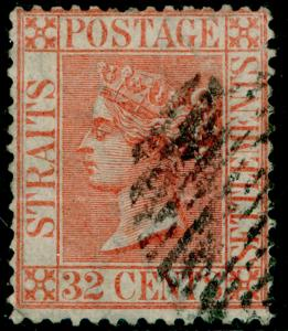 MALAYSIA - Straits Settlements SG18, 32c pale red, USED. Cat £70.