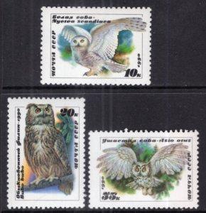 Russia MNH 5871-3 Owls 1990 SCV 2.50