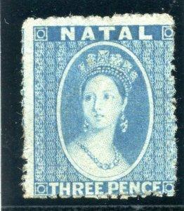 Natal 1862 QV 3d blue MLH. SG 12. Sc 12.