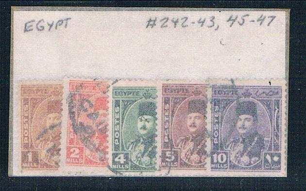 Egypt 242- Used Partial Set Scott nums Shown 1944 (E0058)