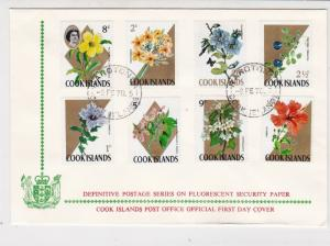 Cook Islands 1970 Def.Series Fluorescent Paper FDC Flowers Stamps Cover Rf 28994