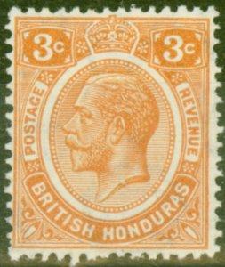 British Honduras 1933 3c Orange SG129 V.F Very Lightly Mtd Mint