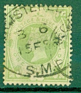 GB QV 1887 Jubilee issue SG211 1/-  Green cv£75+ Used Stamp