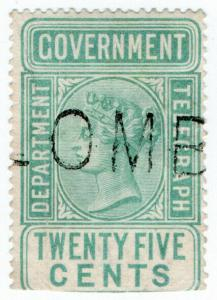 (I.B) Ceylon Telegraphs : 25c Blue-Green (1881)