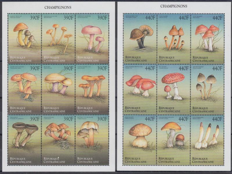 XG-AN761 CENTRAL AFRICAN - Mushrooms, 1999 Nature, 2 Sheets MNH
