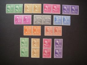 PREXIE COIL PAIRS COMPLETE, Scott 839 - 851, MNH, Nice Group, CV $72