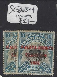 NORTH BORNEO  (P2601B)  10C BOAR  MBE  SG 263-4   MOG