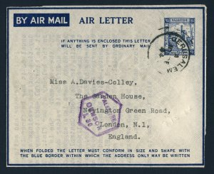 PALESTINE to ENGLAND 1944 Aerogramme JERUSALEM to LONDON