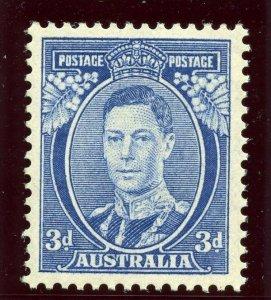 Australia 1937 KGVI 3d bright blue MLH. SG 168ca. Sc 170a.
