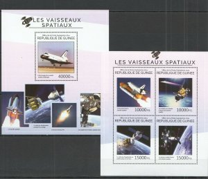 ST720 2014 GUINEA SPACE SPACESHIPS LES VAISSEAUX SPATIAUX KB+BL MNH STAMPS