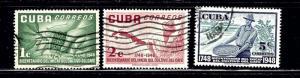 Cuba 481-83 Used 1952 set few nibbed perfs