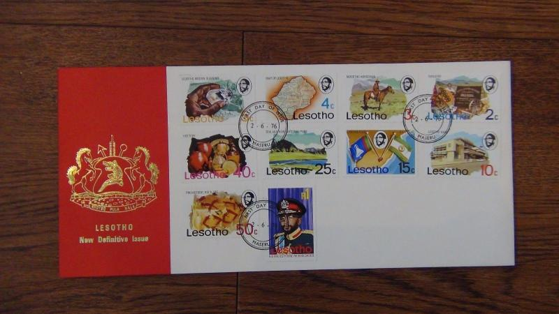Lesotho 1976 Definitive set on First Day Cover
