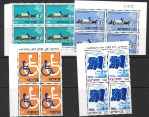 CYPRUS SG439/42 1975 ANNIVERSARIES & EVENTS IN BLOCKS OF 4 MNH