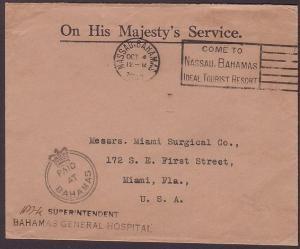 BAHAMAS 1940 OHMS cover to USA,  PAID AT BAHAMAS crowned circle............35865
