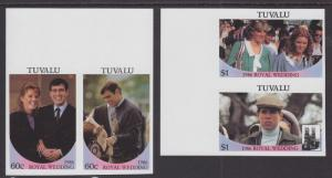 Tuvalu Sc 382-385 MNH. 1986 Royal Wedding cplt, imperf Se-Tenant Pairs VF
