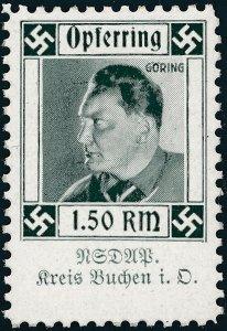 Stamp Germany Revenue WWII 3rd Reich Charity Kreis Buchen G Transvestite 1.5 MNH
