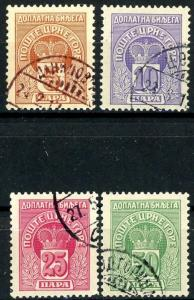 Montenegro Postage Due Issues of 1907 Complete Set of 4 CTO Scott's J19 to J22