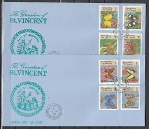 St. Vincent Grenadines. Scott cat. 661-668. Butterflies. 2 First day covers. ^