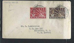 NYASALAND  COVER (P3009B) 1943  KGVI  LEOPARD  1/2D+2D PRINTED MATTER TO USA