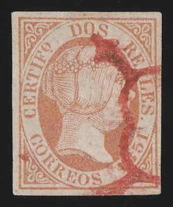 SPAIN : 1851 Queen 2R red. Edifil 8 cat €16,000 for black cancel. Certificate.