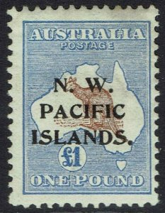 NWPI NEW GUINEA 1915 KANGAROO 1 POUND 1ST WMK