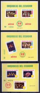 ECUADOR 1980 Sc# 1006+C 713/714   ORCHIDS 3 Souvenir Sheets MNH