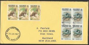SOLOMON IS 1982 cover to NZ, OGHO POSTAL AGENCY............................12724