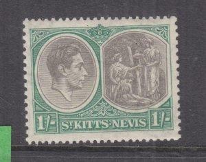 St. KITTS, NEVIS, 1937 KGVI perf. 13 x 12, 1s. Black & Green, lhm.