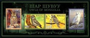 HERRICKSTAMP NEW ISSUES MONGOLIA Sc.# 2877a Owls Souvenir Sheet