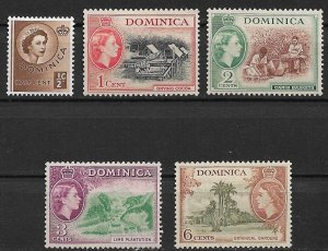 1954 Dominica 142-5,148 MH set of 5