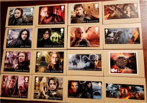 HERRICKSTAMP GREAT BRITAIN Sc.# 3679-88, 3694 Game of Thrones PHQ Cards