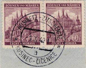 BÖHMEN u. MAHREN 1940  HUSINETZ - ZITSCHENITZ  Railway Carrier CDS /2xMi.27
