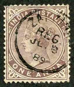 Zanzibar SGZ83 1882-90 India 1a Brown-purple 3 July 89 with CDS (type Z6) Used