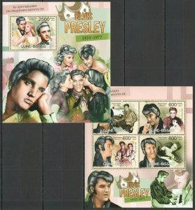 Guinea-Bissau MNH 2-S/S Elvis Presley 2012