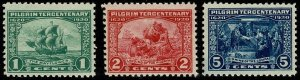 U.S.A.1920 LANDING of THE PILGRAMS FATHERS SET of 3 SG556-8 NH Wmk.NONE P.11 VGC