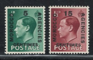 Great Britain Offices Morocco 1936 Surcharges Scott # 437 - 438 MH