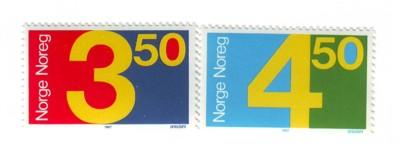 Norway Sc903-4 1987 numbers stamps mint NH