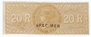 (I.B) India Revenue : Special Adhesive 20R (specimen)