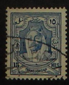 Jordan 177b. 1936 15m Hussein,  perf. 13.5x13, used