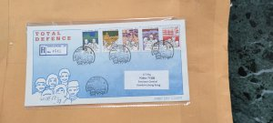 1984 SINGAPORE REGISTERED FDC TO HONG KONG  ON  TOTAL DEFENCE STAMPS