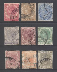 Malaya Straits Setts SG63/71, 1883 Crown CA Set used